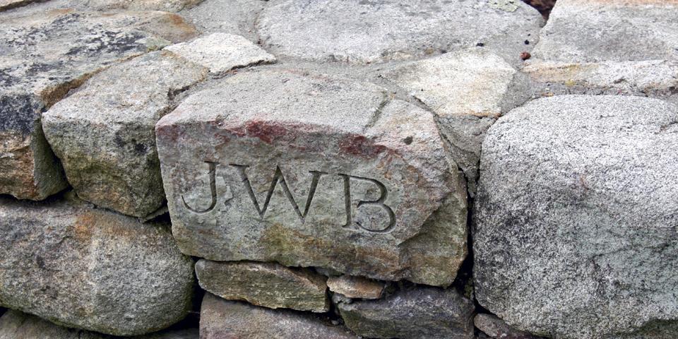 initials in wall, Ganny's Garden, Kennebunkport, Maine