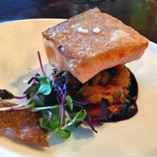 Faroe Island salmon. smoke Trout Panzanella, Tomato Coulis, Cocoa Nib Gastrique,, BlueFin North Atlantic Seafood Restaurant, Portland, Maine