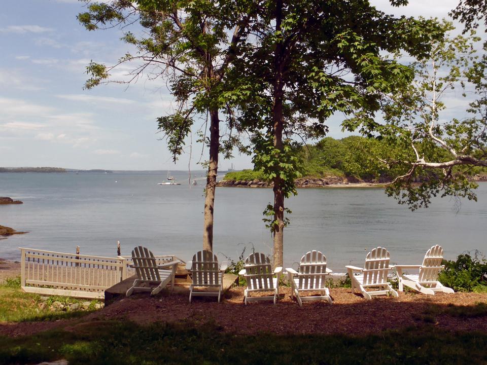 Adirondack chairs overlooking Sea Glass Beach, Great Diamond Island