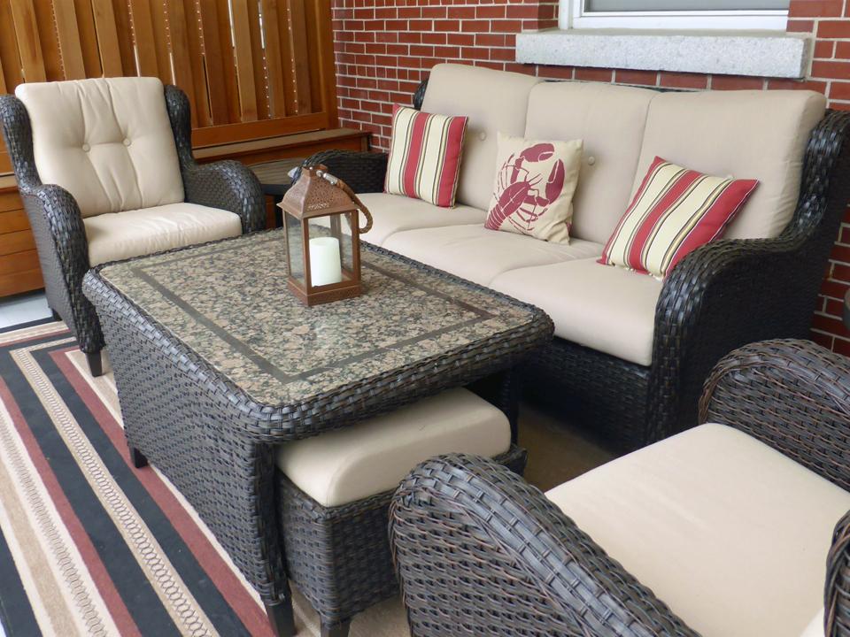 guest room balcony seating. Inn at Diamond Cove, Great Diamond Island, Portland, Maine
