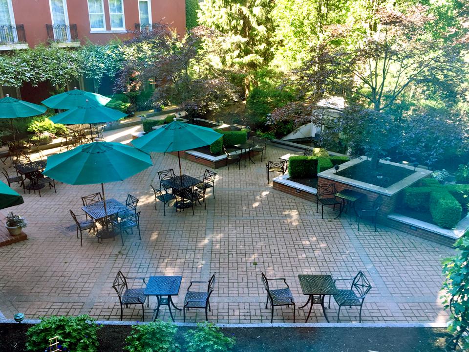 garden courtyard, Portland Harbor Hotel, Portland, Maine