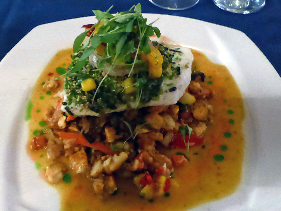 Special of the day, halibut, at Diamond's Edge Restaurant