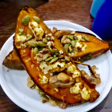 Loaded Sweet Potato with nuts, seeds, green onions, and goat cheese, Forge & Vine, Groton Inn, Groton, Massachusetts