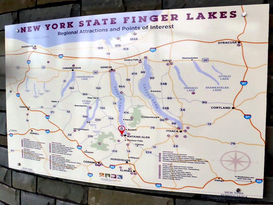 New York Finger Lakes sign, Watkins Glen State Park, NU