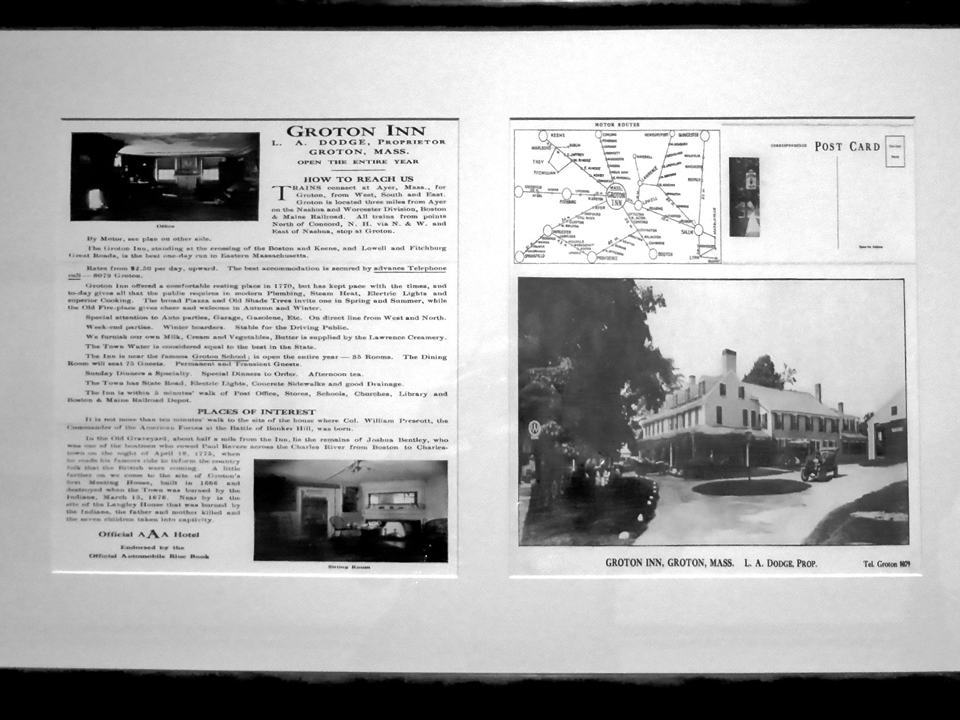 historical information on the Groton Inn, original Groton Inn, Groton, Massachusetts
