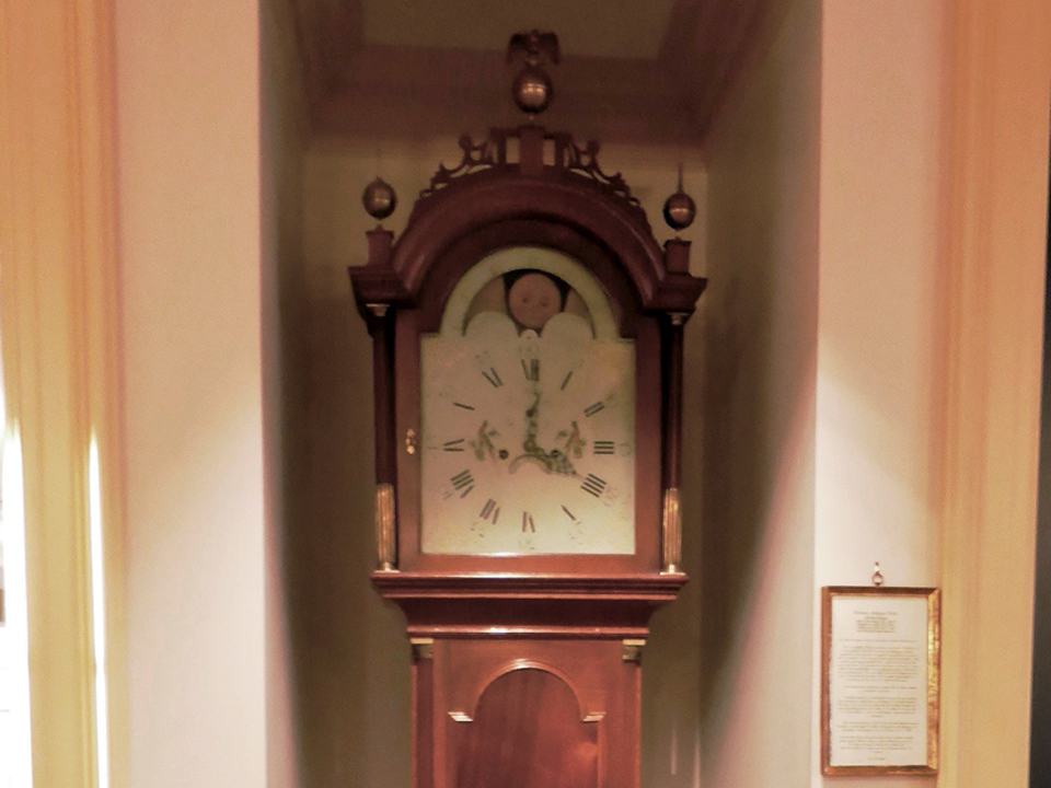 inlaid mahogany tall case clock made in Boston circa 1795, Groton Inn, Groton, Massachusetts