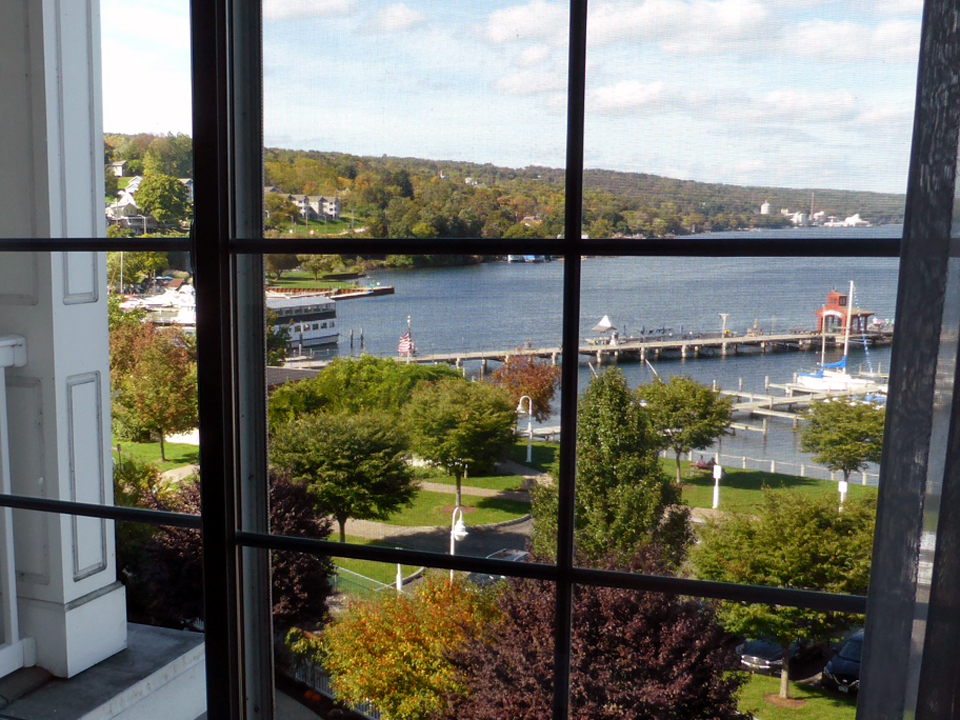 view from guest room window, Watkins Glen Harbor Hotel, Watkins Glen, NY