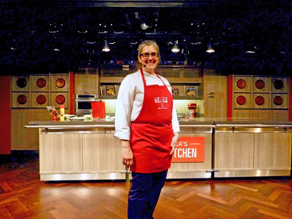 Annette, host of America's Test Kitchen aboard the Rurodam