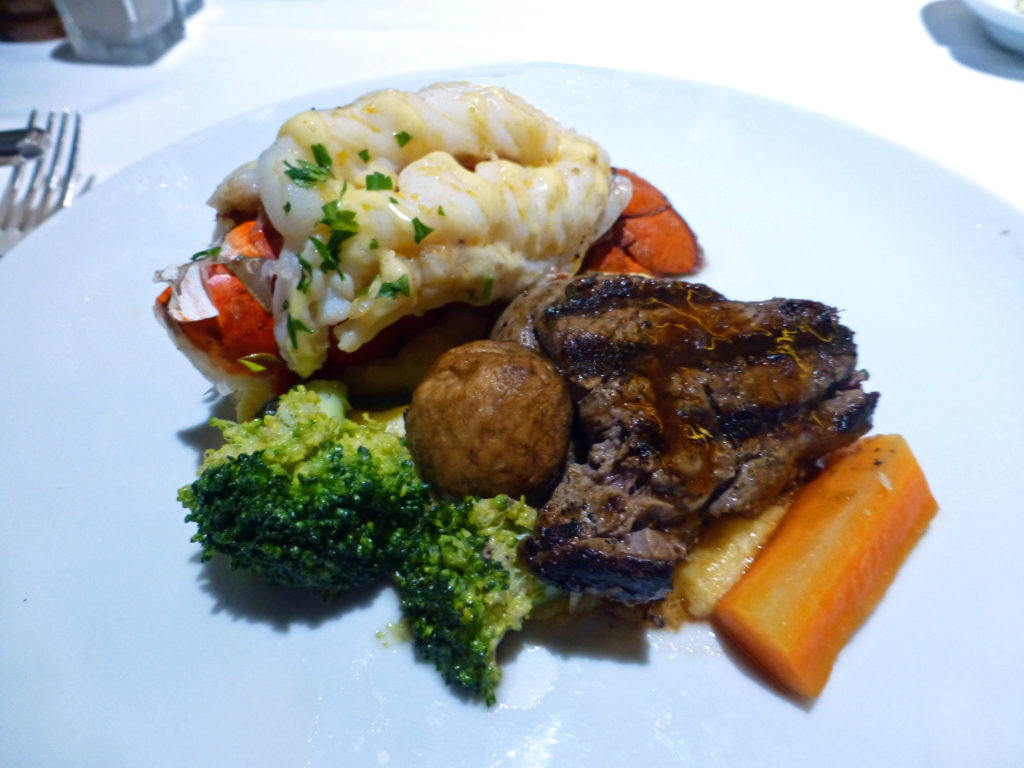 surf and turf at the Gala Dinner, Eurodam