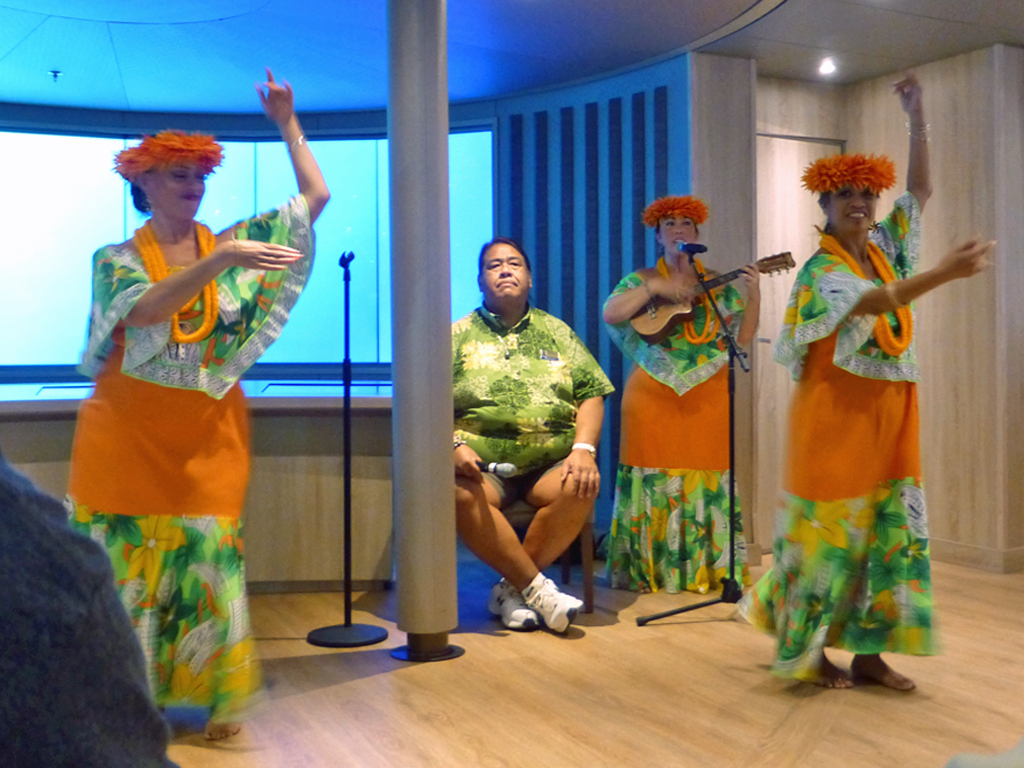 When land was sighted the Hawaiian musicians performed a traditional welcome chant and dance.