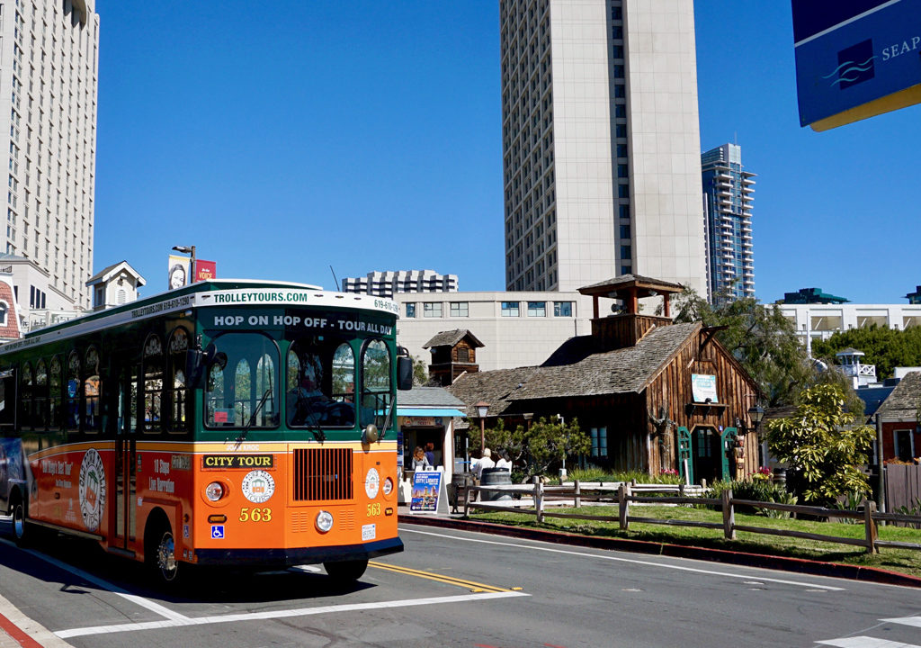 Old Town Trolley at Seaport Village, San Diego, California