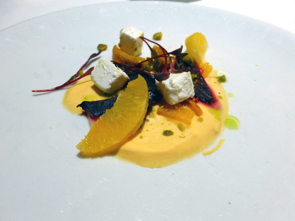 Roasted beets, orange segments, pistachios, feta cheese appetizer at the Gala dinner, Eurodam