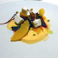 Roasted beets, orange segments, pistachios, feta cheese appetizer at the Gala dinner, Eurodam