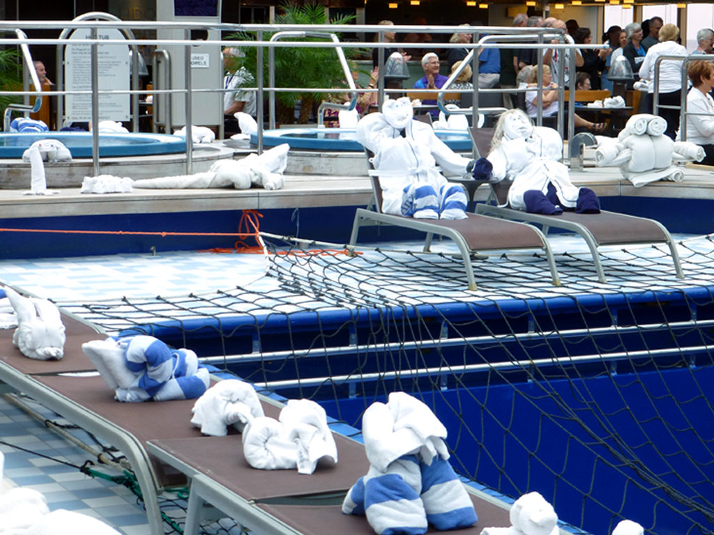 towel people by the pool, Eurodam
