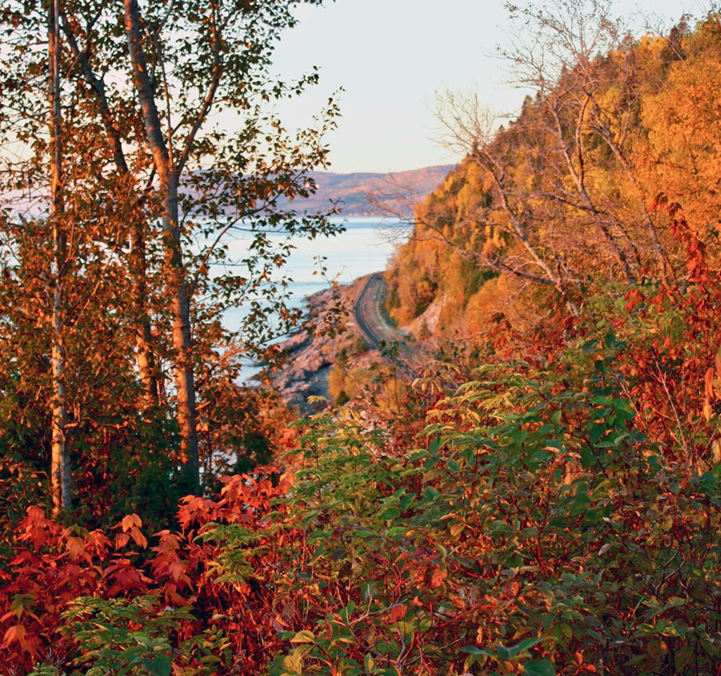 rails along the St. Lawrence River, Charlevoix, Quebec, Canada