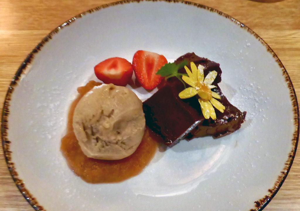 Chocolat delice with rhubarb sorbet